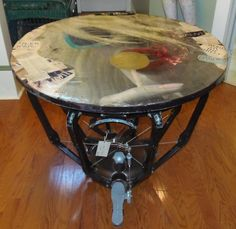 Timpani drum cage as a table!