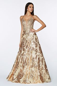 9f4a51d53a6 Floral Sequined Long A-line Dress by Cinderella Divine