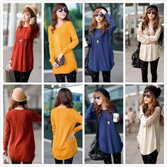 Womens Round Neck Long Sleeve Knitted Pullover Jumper Loose Sweater Knitwear Top #fashion #KnittedSweater