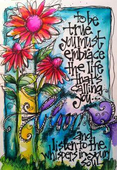 art journaling, art journal pages, embrace quotes, altered art, altered b Art Journal Pages, Art Journals, Kunstjournal Inspiration, Art Journal Inspiration, Journal Ideas, Journal Quotes, Junk Journal, Doodle Art, Your Soul