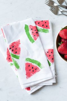 Watermelon printed napkins, DIY watermelon printing, tea towel printing