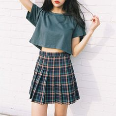 Checked Skirt with a Plain Top is a great combo... Ylime xxx