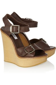 2b8529018987ef Chloé - Leather and wooden wedge sandals
