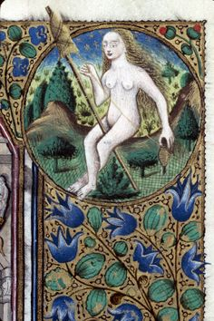Clermont-Ferrand - BM - ms. 0084 f.27. Book of Hours, 15th century, third quarter. Eve and distaff.