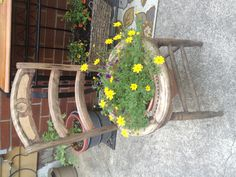My friend Mel had a clever idea for an old round seated chair. Cut the seat out and measure to fit- add a planter/flower pot- cute!