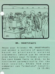 Flyer ad for Mr. Smartypants program (1982). Telephone, Connection, Software, Facts, Phone