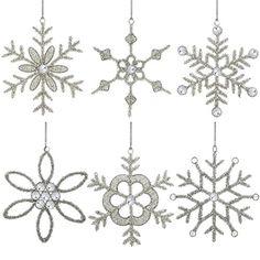 Set of 6 Handmade Snowflake Iron and Glass Pendant Christmas Ornaments ShalinIndia http://www.amazon.com/dp/B00LSNLKSO/ref=cm_sw_r_pi_dp_JUCzub1PJTH1Z