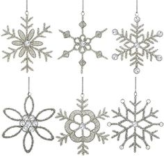 Set of 6 Handmade Snowflake Iron and Glass Pendant Party Ornaments, 6 Inches ShalinIndia http://www.amazon.com/dp/B00LSNLKSO/ref=cm_sw_r_pi_dp_UxJJvb1BRCD9Z
