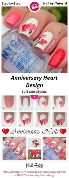 Anniversary Heart Design by BeautyBySuzi - Nail Art Gallery Step-by-Step Tutorials nailartgallery.nailsmag.com by Nails Magazine www.nailsmag.com #nailart