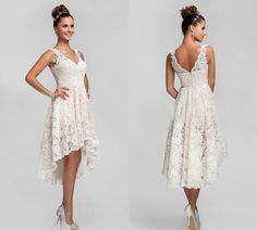 Wholesale Mermaid Dresses - Buy Real Images!Shoulder Straps Scoop High-Low Lace Short Wedding Dresses 2014, $139.0 | DHgate