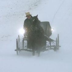 Amish buggy in snowstorm