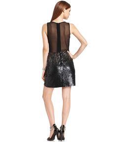 W118 by Walter Baker, Sleeveless High-Neck Sequin Mesh - Womens Dresses - Macy's
