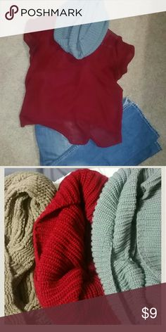 3 scarves 3 think infinity winter scarves. Super cute and warm. Grey, red and khaki color Accessories Scarves & Wraps