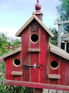 SOLD Love this deep red Barn with its red finial, copula, water knob and vintage key** Love**Love**Love** Bird Houses Painted, Bird Houses Diy, Fairy Houses, Bird House Feeder, Bird Feeders, Birdhouse Designs, Birdhouse Ideas, Bird House Kits, Bird Aviary