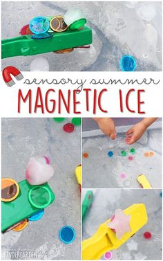 This summer fill your sensory bin with frozen bingo chips, magnet wands, and water and get ready for lots of fun and exploration! This is the perfect outdoor activity for summer tot school, preschool, or kindergarten! Sensory Bins, Sensory Activities, Kindergarten Activities, Summer Activities, Toddler Activities, Learning Activities, Sensory Table, Outdoor Activities For Preschoolers, Sensory Play