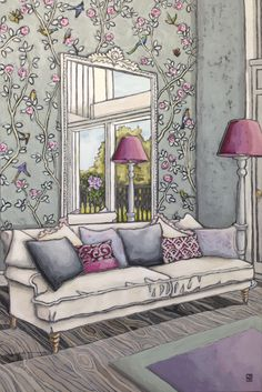 & # The Garden Room & # 39 ; an original painting by Jilly Ballantyne Copyright 60 x Interior Design Tools, Interior Design Renderings, Drawing Interior, Interior Rendering, Interior Sketch, Best Interior, Furniture Design, Living Room Interior, Interior Livingroom