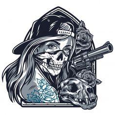 Cat Skull, Skull Art, Tattoo Sketches, Tattoo Drawings, Chicano Style Tattoo, Tattoo Posters, Graffiti Doodles, Graphic Illustration, Vector Illustrations