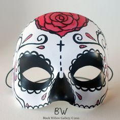I WANT ONE FOR HALLOWEEN!!  Blossom Rose Day of the Dead Mask sugar by BlackWillowGallery, $35.00