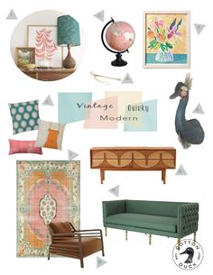 Use a cool sofa like this with tufts and high sides in the lower area. Use the cool midcentury modern console unit for the back room with art above it.  Vintage Quirky Modern living room. Mid-Century modern living room. Pink and emerald living room.