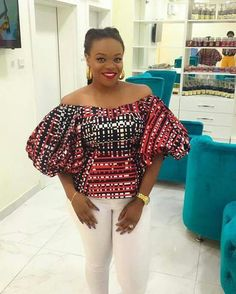 65 of the latest stylish and trendy Ankara tops to wear with your Jeans trousers, Pleated and Pencil Skirts. This post will help you in finding that perfect Ankara fabric & design for your tops. Ankara Tops, Styles Ankara, Ankara Blouse, African Blouses, African Tops, African Women, African Inspired Fashion, African Print Fashion, Africa Fashion