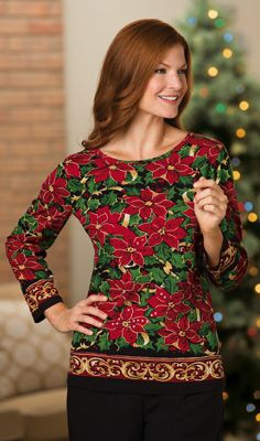 Sequin Poinsettia Christmas Top