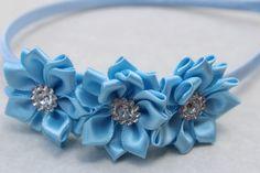 blue headband flower girl headband satin by SummerBloomKids