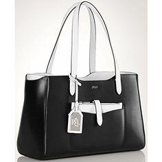 c8be753647  deal LAUREN Ralph Lauren Davenport Shopper (Black Optic White)