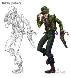 This was the second pass at Riddler for Arkham City. I felt I had something going with the initial design, so I wanted to keep pushing it towards a ArkhamCity Batman Arkham Games, Batman Arkham Asylum, Batman Art, Comic Character, Character Concept, Concept Art, Character Design, Character Ideas, Comic Books Art