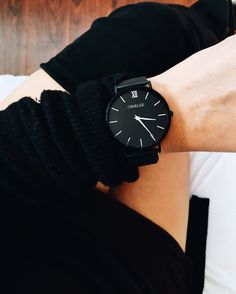 The Mesh Collection combines a minimalistic and elegant design made for evening looks and everyday use. With the clean lines of our interchangeable watch, combined with stainless steel straps to creat Trendy Watches, Beautiful Watches, Black Love, Shades Of Black, Fashion Watches, Matte Black, Women's Accessories, Piercing, Bracelets