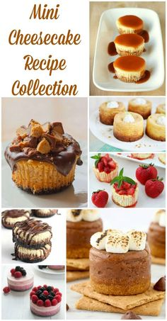 Mini Cheesecakes Recipe Collection - perfect for bridal showers, baby showers, shabby chic party and more! They are mini so you can eat more than one, right? I think so!