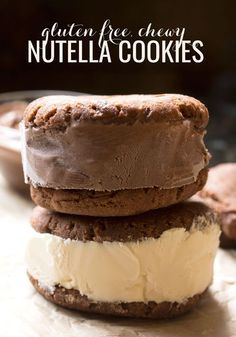 Chewy gluten free Nutella cookies have a delicate crunch on the outside, and a soft and tender inside. Perfect for making ice cream sandwiches!