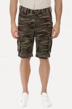 Camo Printed Twill Cargo Shorts