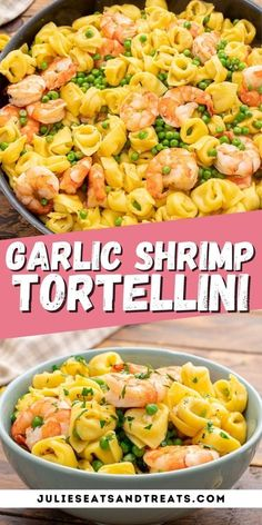 A quick and easy dinner that's ready in 20 minutes! This Garlic Shrimp Tortellini has cheese tortellini, peas and shrimp that's tossed in a light garlic sauce. It's a delicious dinner that tastes as… More Quick Pasta Recipes, Shrimp Recipes For Dinner, Easy Dinner Recipes, Seafood Recipes, Seafood Dishes, Fish Recipes, Yummy Recipes, Dinner Ideas, Garlic Shrimp
