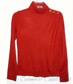 Charter Club New Red Turtleneck Sweater Long Sleeve Petite XS Pullover ID 932 | eBay