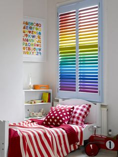 Interior : Unique Colorful Modern Blinds For Kids Bedroom Decor With Cute Bed And Red White Bedding With Amusing Wall Art And Shelves With Books And Glass Candle Holders Getting Stylish with Modern Window Blinds Modern Home Blinds. Modern Silhouette Guide Blinds. Modern Blinds For Bedroom Windows.
