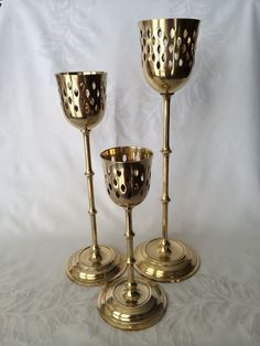Brass Candle Set Tall Cut Out Design Mantle or Alter by DotnBettys