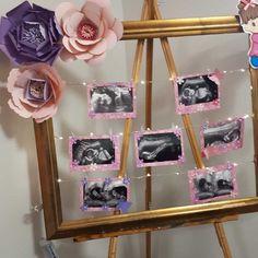 Baby scan photos display Juegos Baby Shower Niño, Mesas Para Baby Shower, Baby Shower Invitaciones, Girl Baby Shower Decorations, Baby Shower Centerpieces, Baby Shower Themes, Shower Ideas, Baby Shower Fall, Baby Boy Shower