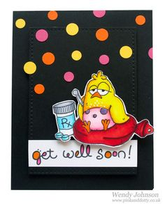 Get well soon card using a digi stamp Sick Chick by From The Heart Digital stamps