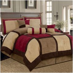 Microsuede Patchwork Bed in a Bag 7 Piece Comforter Set Burgundy or White Accent - www.wantitgetit.co