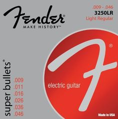Fender Accessories 073-3250-404 Nickel Plated Electric Guitar Strings, Light by Fender. $4.99. Fender super bullets are the ultimate string forfender trem users. nickel-plated steel makes these anexcellent choice for rock and other styles of music wherethe guitar needs to cut through.fender super bullets are one of the world'smost-popular sets of strings and for good reason.the german-made bullet end fits precisely intofender tremolo blocks, enhancing sustain and stability.tha...