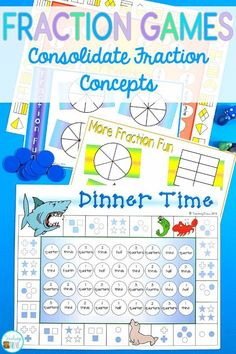 Fraction games are a fun way for your first grade, second grade and third grade students to consolidate their understanding of fractions. They can practice identifying equal and unequal parts, parts of a whole, making fractions and fraction names. Perfect for math centers and small groups. Great for homeschoolers too! #fractiongames #fractions