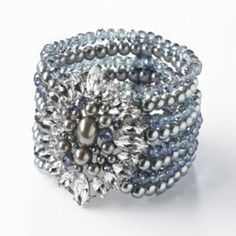 Simply Vera Vera Wang Silver Tone Simulated Crystal, Simulated Pearl & Bead Multistrand Stretch Bracelet