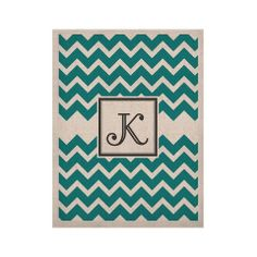 "KESS Original ""Monogram Chevron Teal"" KESS Naturals Canvas (Frame not 