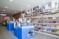 Gradient paint, Storage, Blue, Comic books, Raw wood and metal, Custom graphics