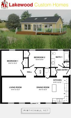 Cottage x 2 Bedrooms 1 Bathroom Redwood – 884 sq. Cottage x 2 Bedrooms Small House Floor Plans, Cottage Floor Plans, Cottage Plan, 2 Bedroom House Plans, Plan Chalet, Tiny House Cabin, Small House Design, Small House Layout, Sims House