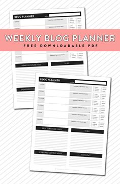 weekly blog post planner downloadable pdf