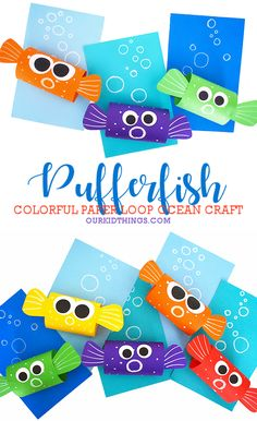 Made with not much more than cardstock stapled together, this Paper Loop Pufferfish Craft is simply adorable! Such a fun addition to any ocean theme. Daycare Crafts, Toddler Crafts, Preschool Crafts, Kindergarten Crafts Summer, Kids Daycare, Summer Crafts For Kids, Projects For Kids, Art For Kids, Summer Crafts For Preschoolers
