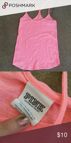 VS  tank  Bright pink Racerback Sz xs Preowned and gently worn. Beautiful condition.  Bundle to save PINK Victoria's Secret Tops Tank Tops