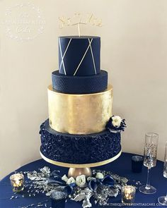 Navy & Gold Wedding Cake Navy & Gold Wedding Cake with Fondant Ruffles, Gold Leaf and Fresh Flowers by The Quintessential Cake, Chicago. Champagne Wedding Cakes, Luxury Wedding Cake, Beautiful Wedding Cakes, Beautiful Cakes, Cake Wedding, Blue Wedding Cakes, Wedding Venues, Navy Blue And Gold Wedding, Burgundy Wedding Cake