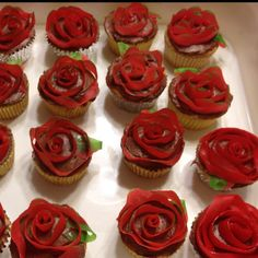 Rose cupcakes--for my sweet Belle's (Beauty and the Beast) birthday.  Fruit by the Foot makes the roses